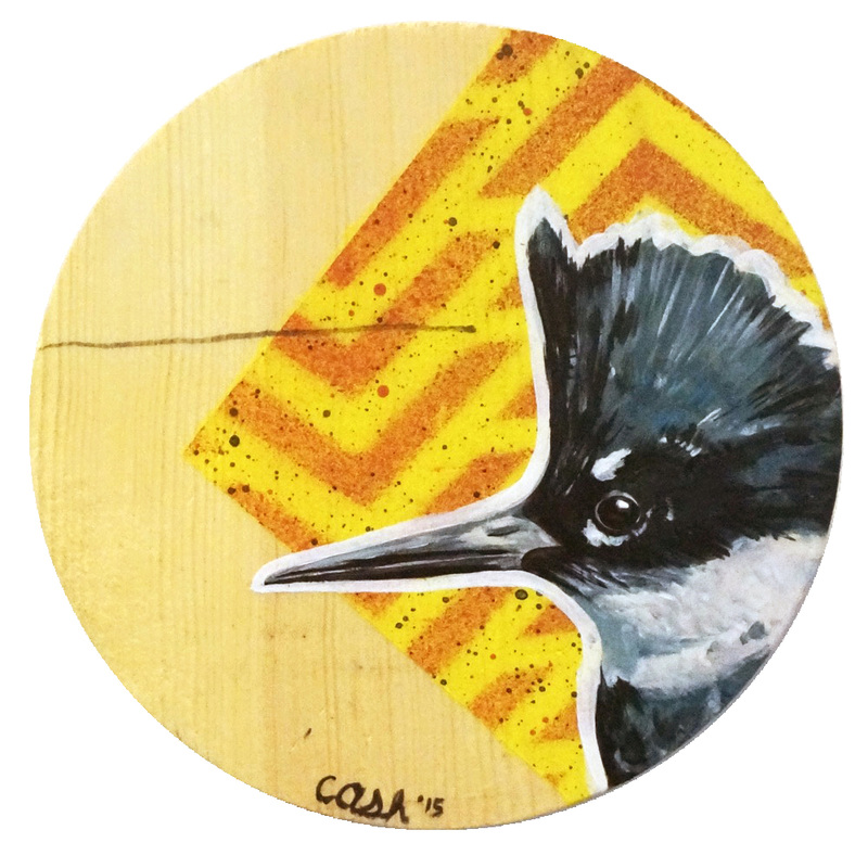 "Kingfisher 8""x8"" Acrylic and spray paint on wood"