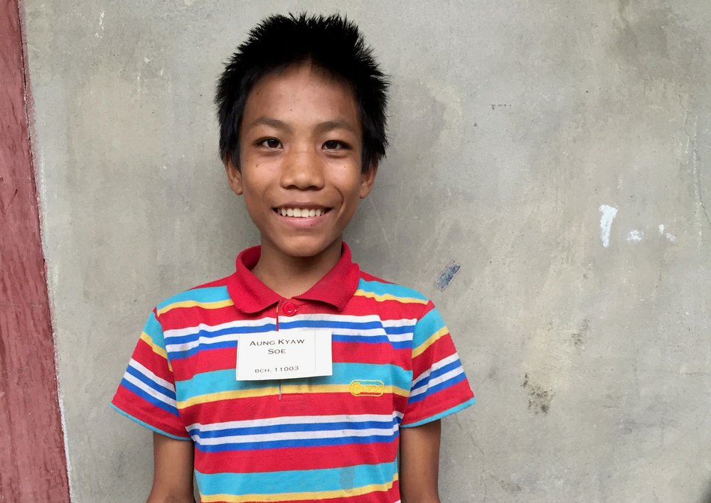 CHILD'S NAME: Aung Kyaw Sow CHILD'S NUMBER: 11003 CHILD'S ORPHANAGE: Beaulah CHILD'S BIRTHDAY:  2/1/2002