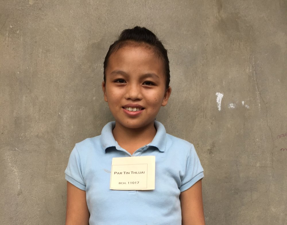 CHILD'S NAME: Par Tin Thluai CHILD'S NUMBER: 11017 CHILD'S ORPHANAGE: Beaulah CHILD'S BIRTHDAY: