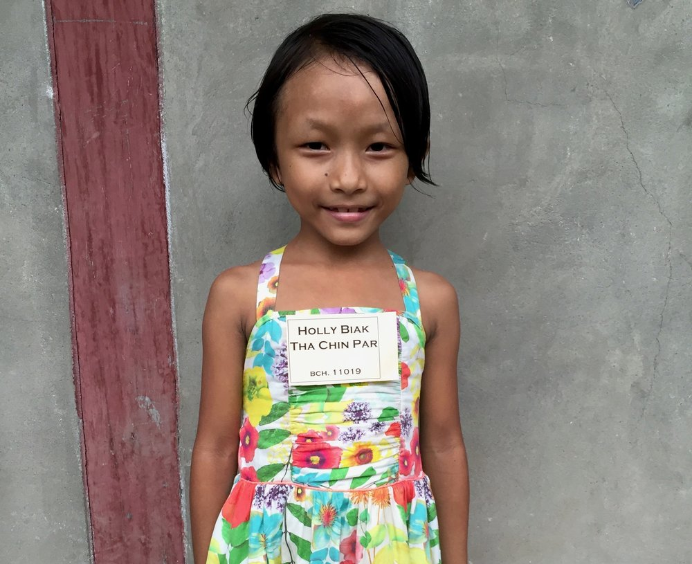 CHILD'S NAME: Holly Biak Tha Chin Par CHILD'S NUMBER: 11019 CHILD'S ORPHANAGE: Beaulah CHILD'S BIRTHDAY:  5/13/2008