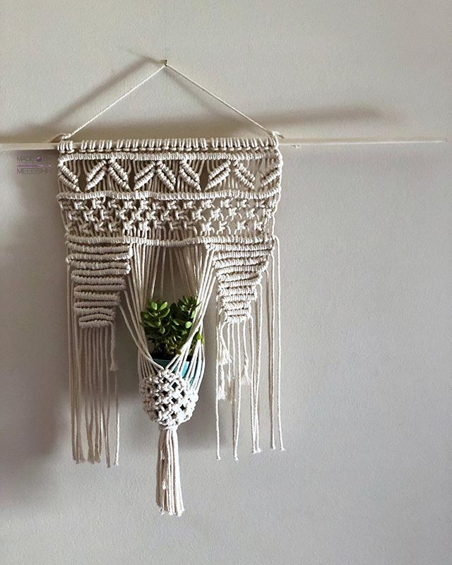 Hi friends! 👋🏽 I've been taking a little bit of a hiatus on here to better focus and plan things out for my projects and brand. 💭 But I wanted to hop on here to share with you my most recently finished creation. ➰〰️ • Remember a couple of weeks ago when I talked about wanting to get into macrame and that I was working on a personal wall hanging? Well, she's done! 🤗 I finally got her all hung up and found the perfect little plant to pair her with. ➰🎍 • I'm extremely excited and proud of what I made. 🙌🏽🙌🏽 It's my first macrame piece and even though there are plenty of imperfections, those imperfections make me love it even more. 😅 I can't wait to make more of these macramed wall/plant hangings and begin posting to the shop. 💜 • Make sure to keep following me and I promise great things will be coming very soon! 💃🏽💃🏽