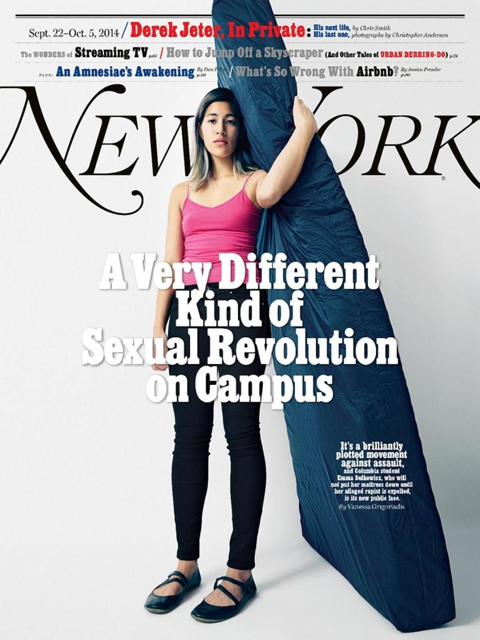 Emma Sulkowicz, Cover of New York Magazine. Photo from NY Magazine, 2016.