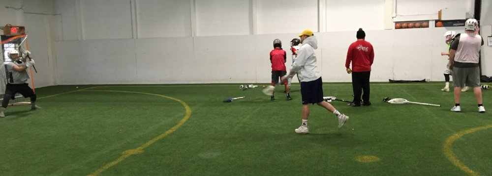 Our staff working separate stations and while our goalies get after the drills this Sunday.
