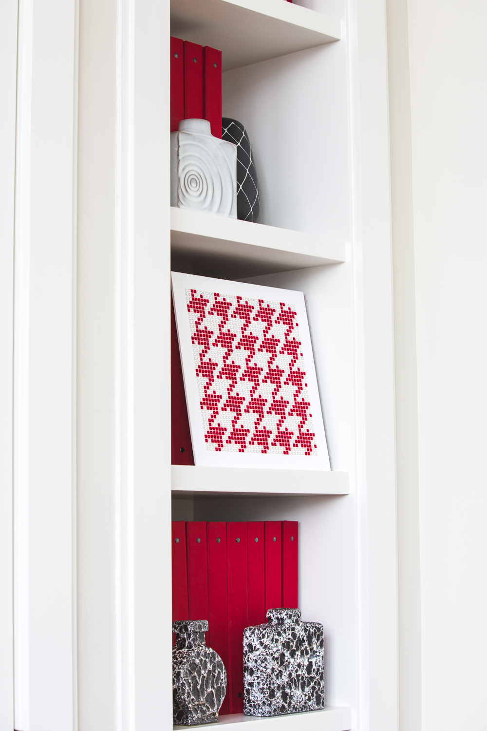Houndstooth Red on a Bookshelf