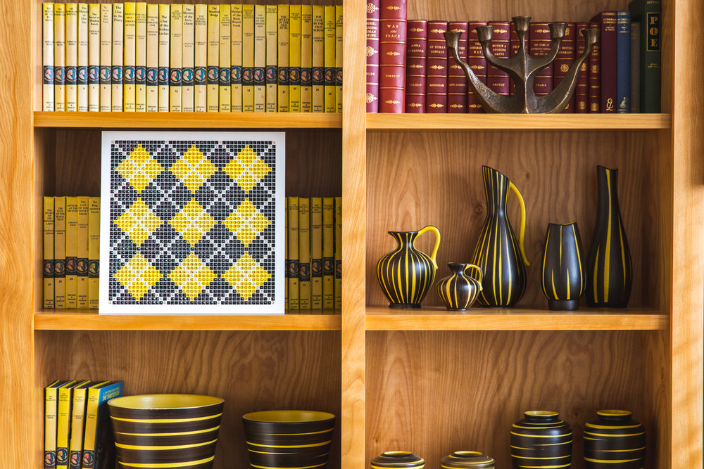 Argyle Yellow on a Bookshelf