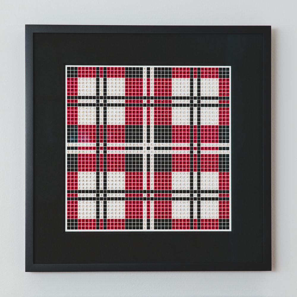 Tartan Dark Red with black frame and black mat
