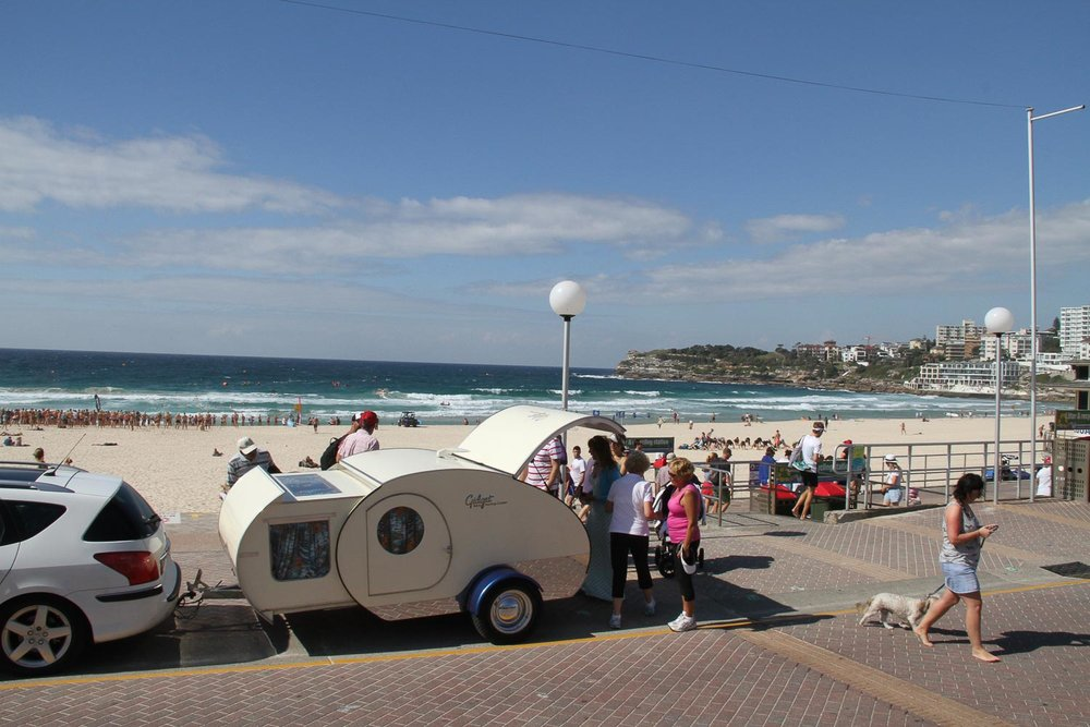 GIDGET AT BONDI BEACH, stopped by crowds.jpg