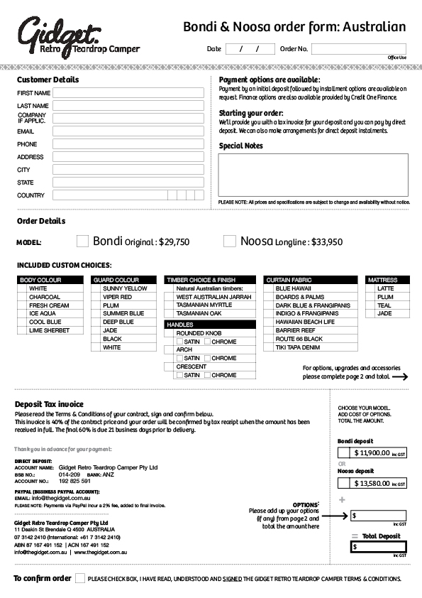 Order form for the Bondi and Noosa plus Terms & Conditions