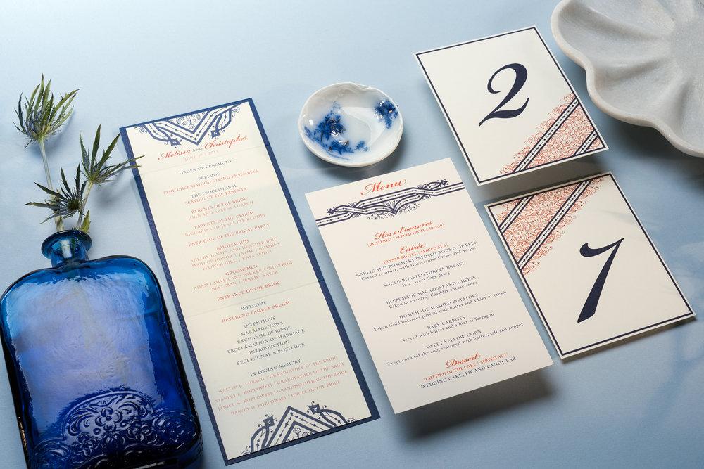 WEDDING PROGRAM | MENU | TABLE NUMBER CARDS