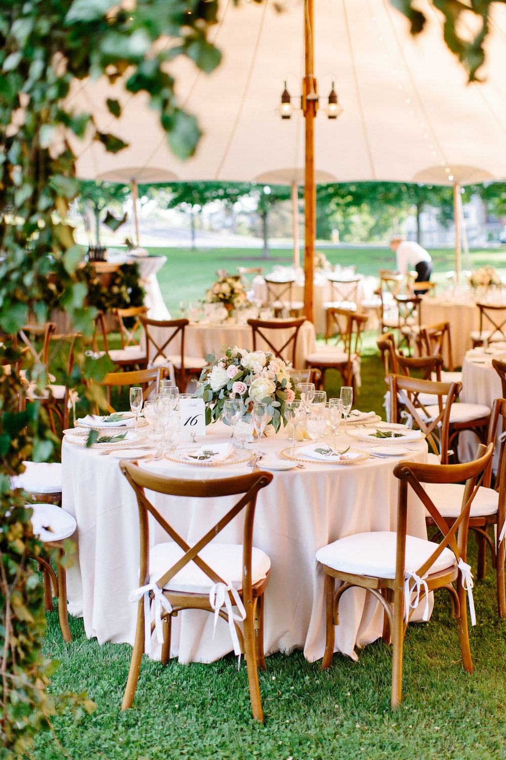 Reception tent and tables at Colgate University in Hamilton, NY