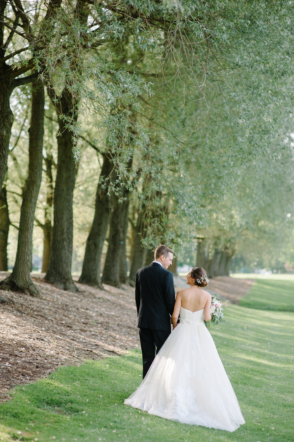 Bride and groom on Willow Path at Colgate University in Hamilton, NY