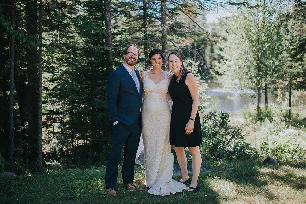 Shannon Whitney Anson with bride and groom at the Whiteface Lodge in Lake Placid, NY