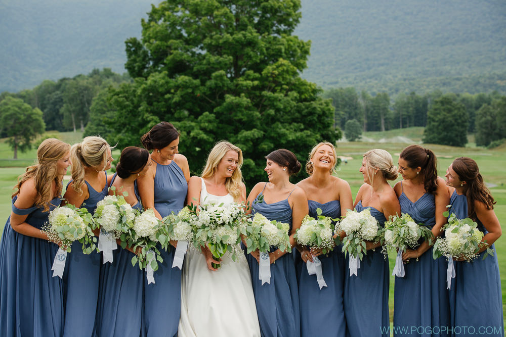 Each of the bridesmaid's bouquets were tied with a silk ribbon that had each of their initials embroidered on them. Such a thoughtful detail!