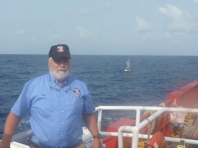 Phil at buoy marking Equator & Prime meridian
