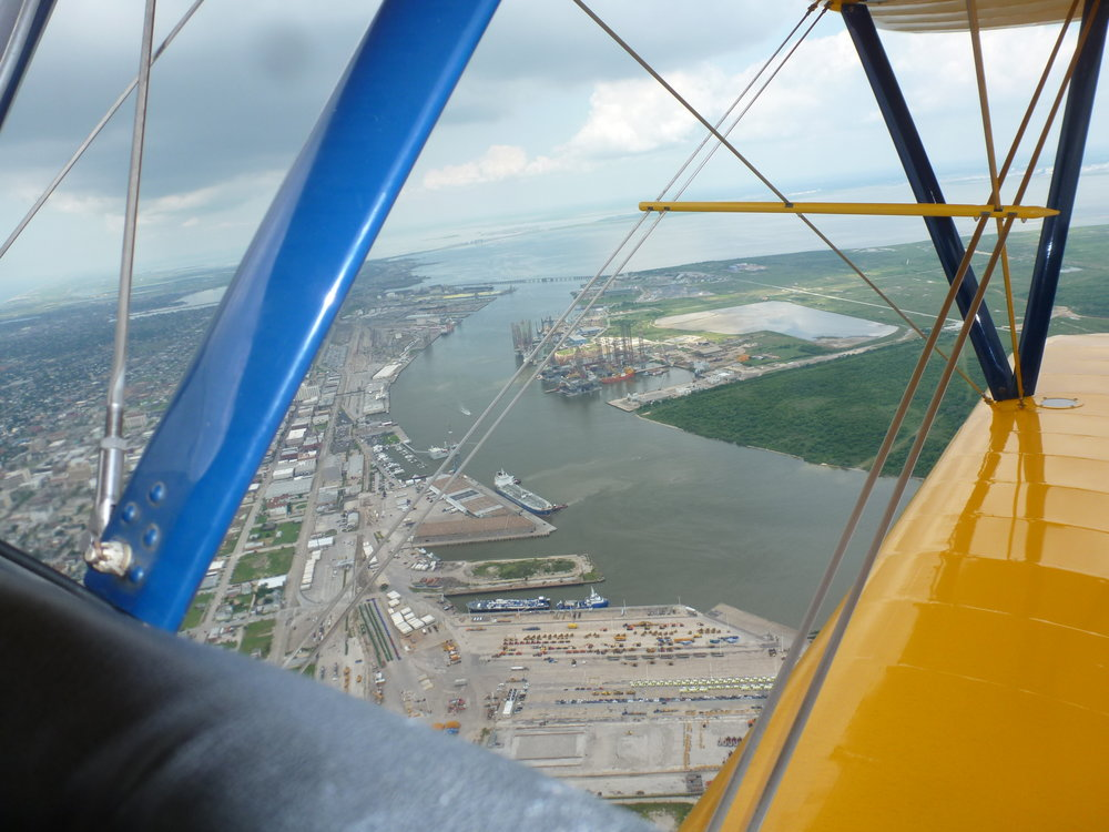 Caught a ride in a Stearman over Galveston harbor