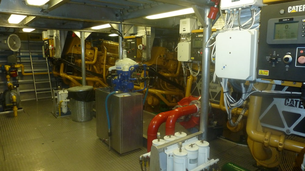 Engine room with 4 engines, Ms Yvonne.JPG