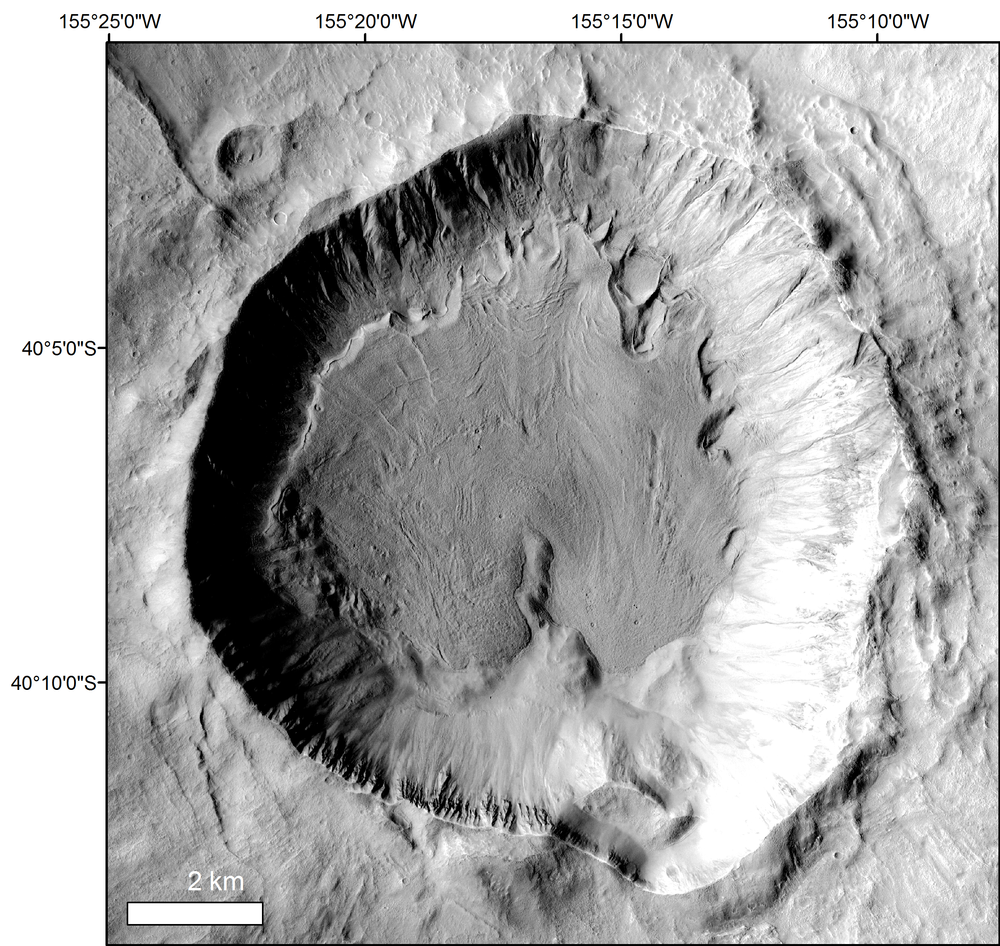 (Left) Glaciated crater on Mars that contains evidence of paraglacial modification. Glaciation is evident from the presence of concentric crater fill (CCF), while the stratigraphically younger features are evidence of paraglacial modification.  (Right) Sketch map of the paraglacial features in the glaciated crater to the left.