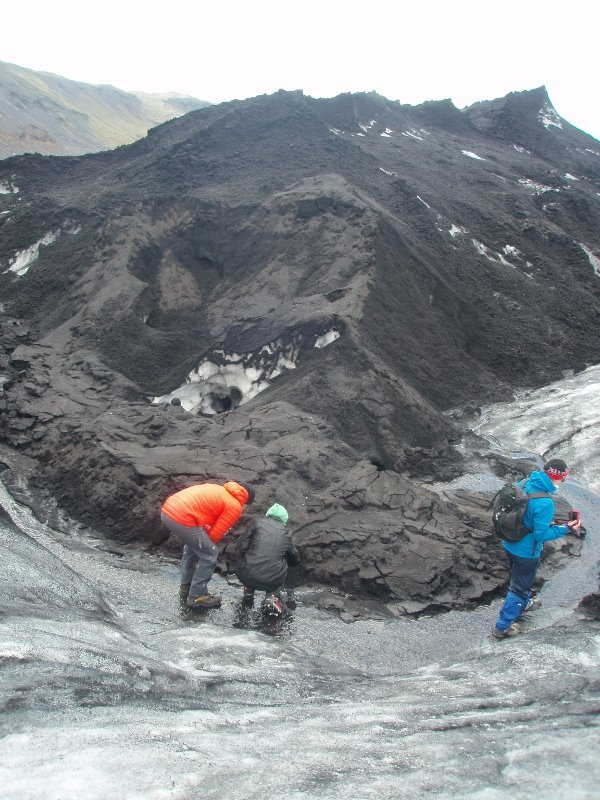 Assessing erosion and supraglacial flow on Sólheimajökull Glacier, Iceland (I'm in the green hat)