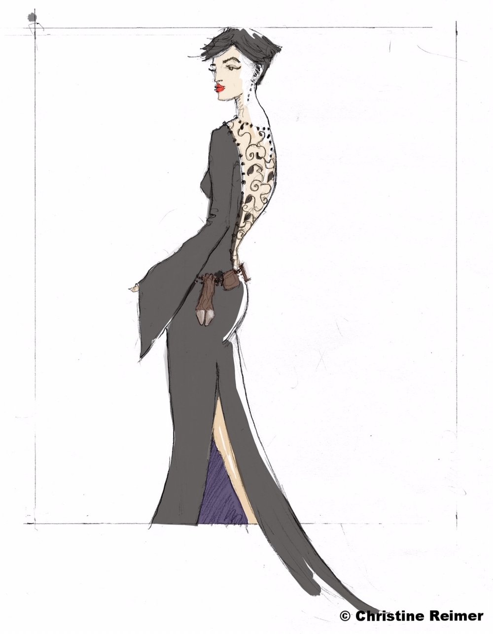 """Laceback Evening Gown"" Ken's Fashions, 2016"