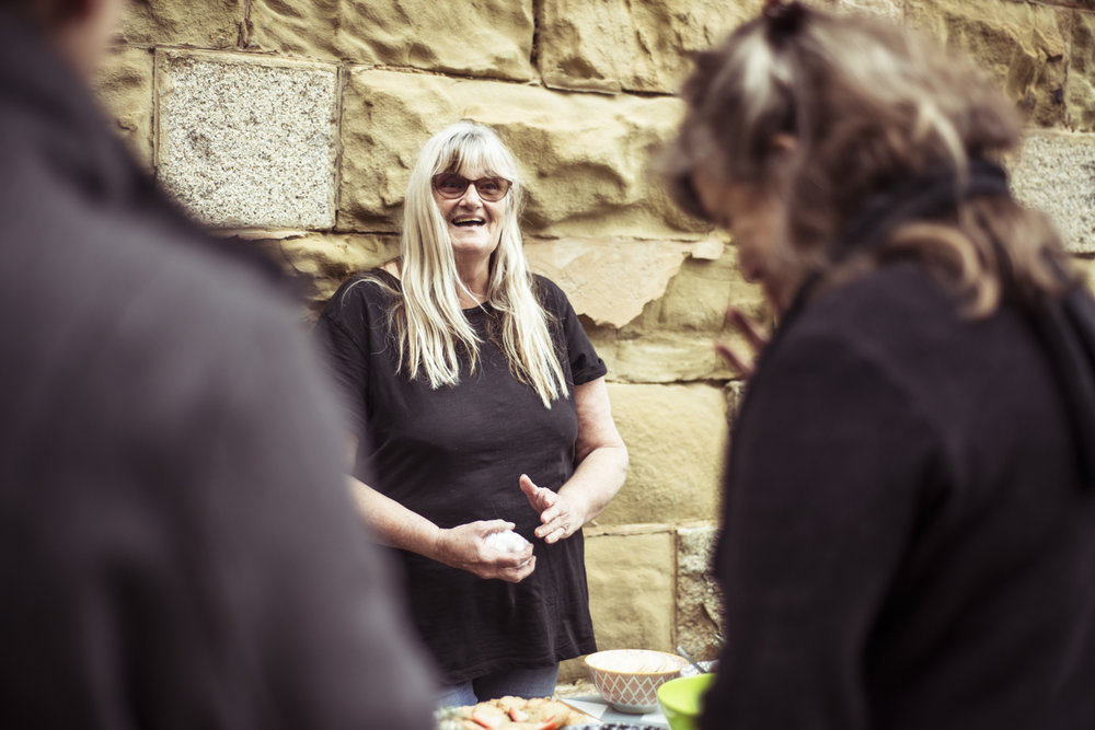 Dust to Dust, Castlemaine Gaol, Dja Dja Wurrung, 19 May 2018. Afternoon tea by Murnong Mammas, including Aunty Julie McHale. Photo by Pippa Samaya.