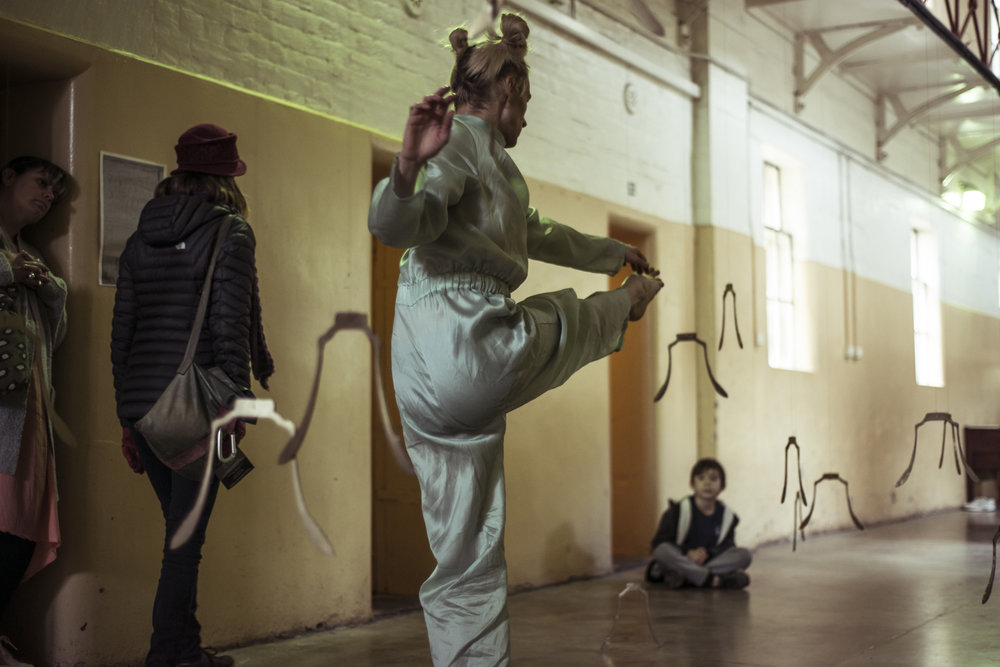 Dust  - creative development, Castlemaine Gaol, Dja Dja Wurrung, 19 May 2018. Performance by Benjamin Hancock, in collaboration with Fayen d'Evie and Aaron McPeake. Photo by Pippa Samaya.