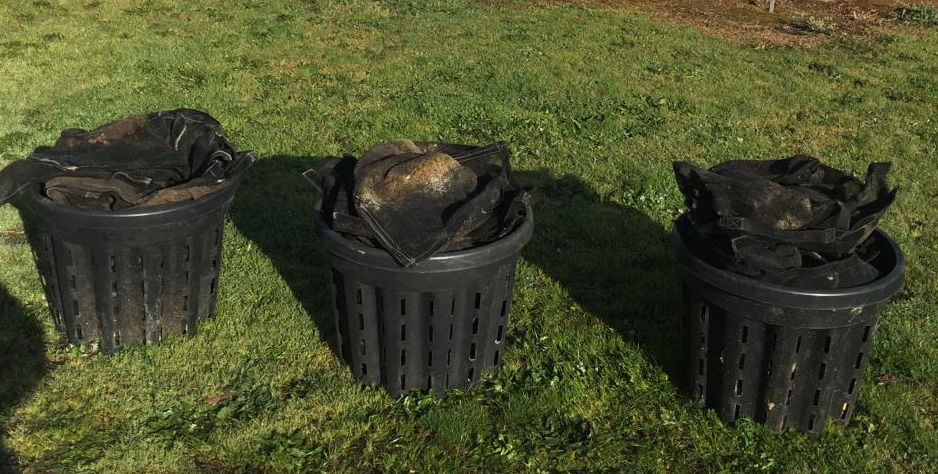 Three Anti Spiral pots holding 71 Boostabags - 45 litre