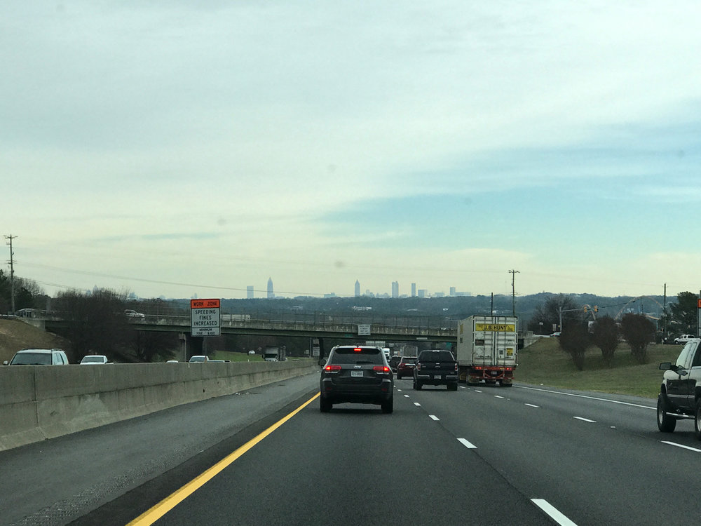 Atlanta skyline, traveling east on I-20 in Cobb County, GA.