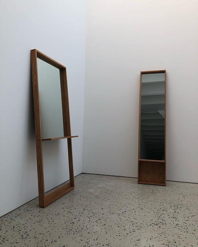 Custom white oak mirrors. . . . . #woodworking #cabinetry #carpentry #whiteoak #wood #wooddesign #minimalism #minimadesign #customfurniture #nycdesigner #turning #woodturning #lathe #maker #brooklyn #local #localmade #madelocal #brooklynmade #diy #mirror #modernmirror #custom mirror #oak #scandinaviandesign