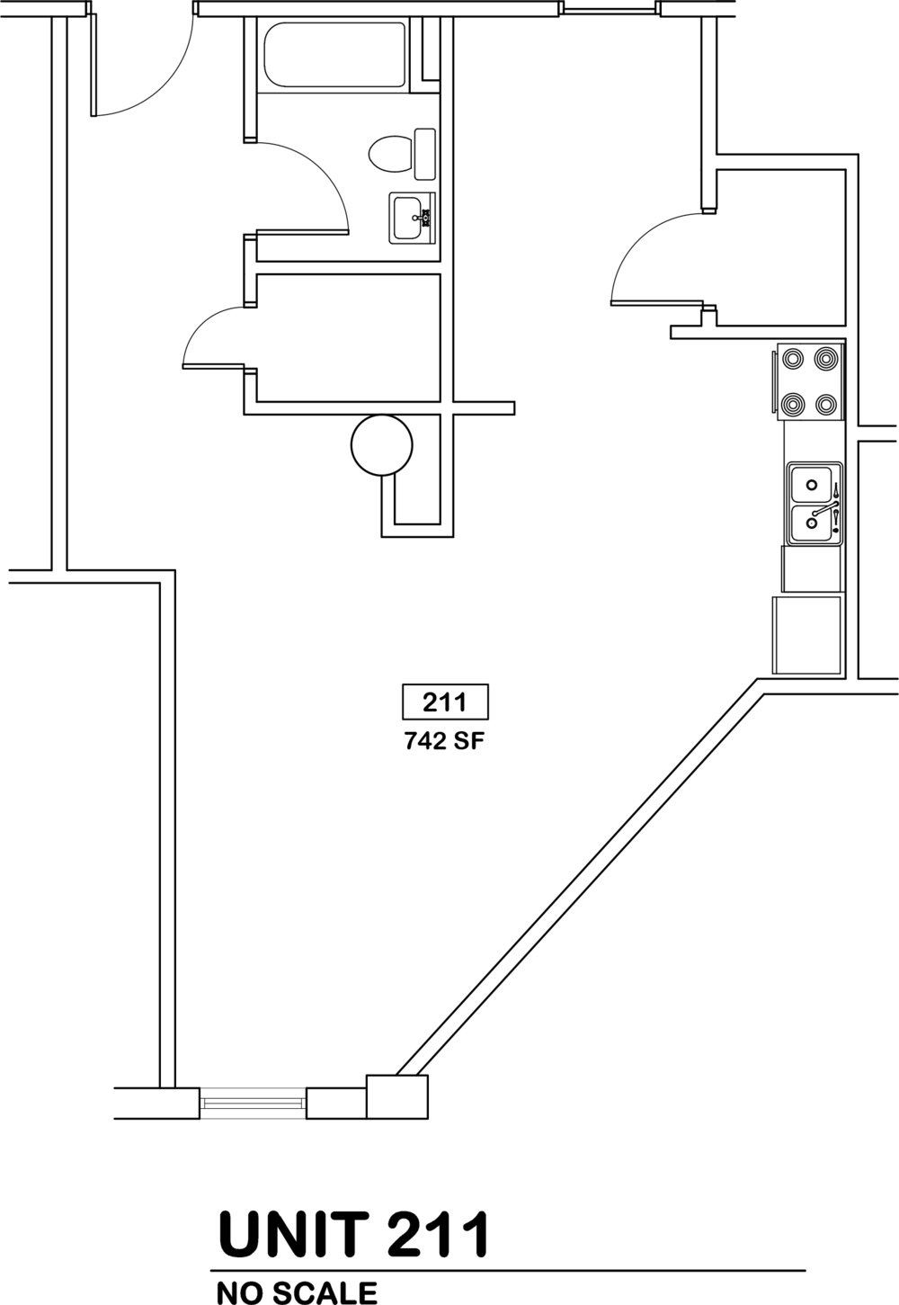 Hybrid Studio / 1 bath   $760 / 742 sq ft