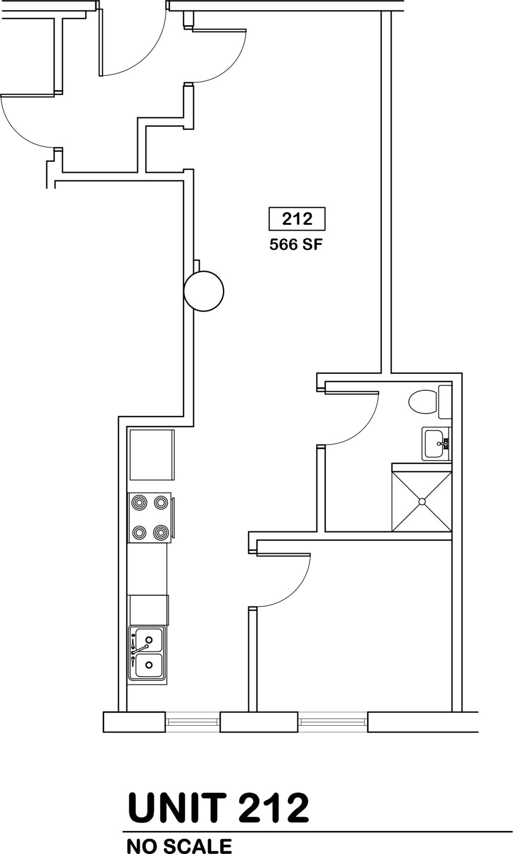 1 bed / 1 bath   $500 / 566 sq ft