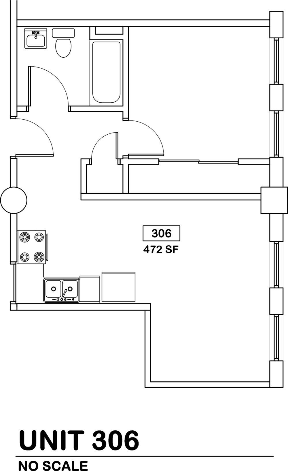 1 bed / 1 bath   $570 / 472 sq ft
