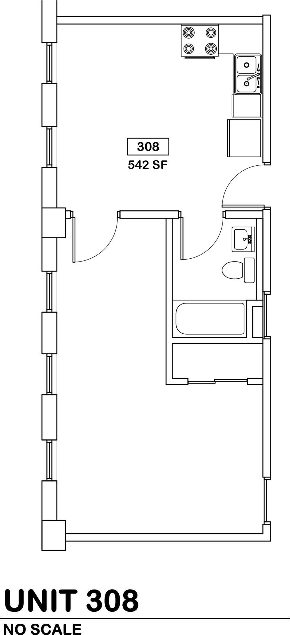 studio  $610 / 542 sq ft