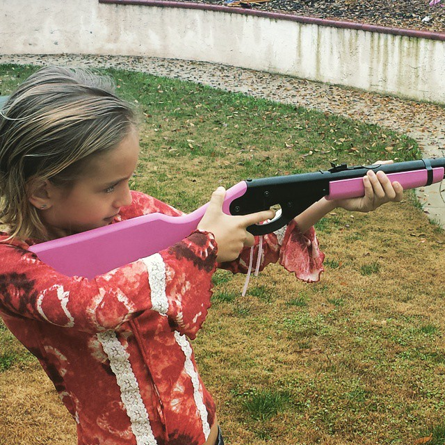 Abby with Pink BB Gun