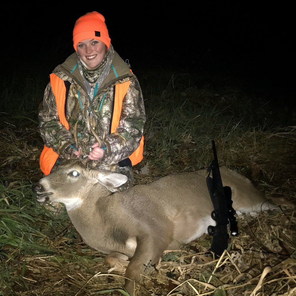 My first buck I harvested opening day of the Wisconsin gun deer opener. He came through right before shooting time ended on my family farm. This deer is not organic but still delicious.