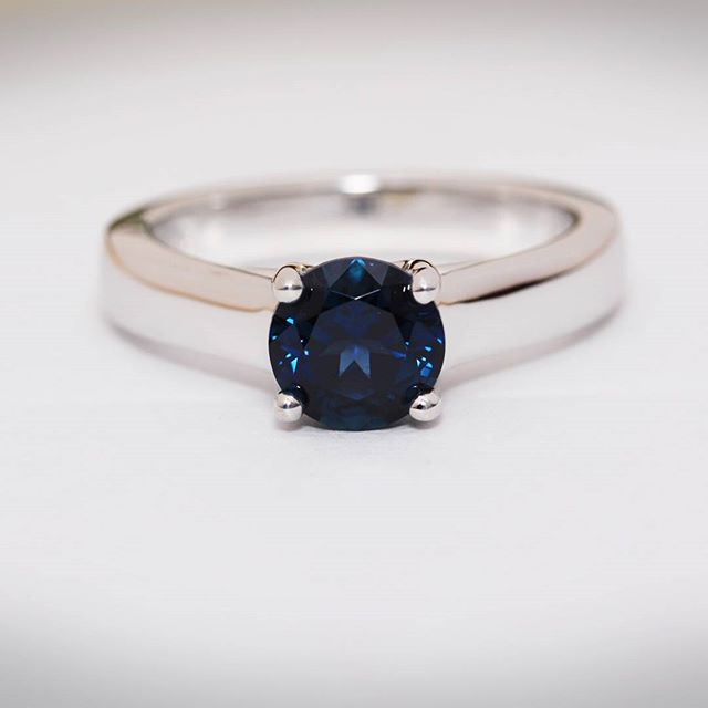 This classic blue Australian sapphire ring we made a few years ago came in for an update.