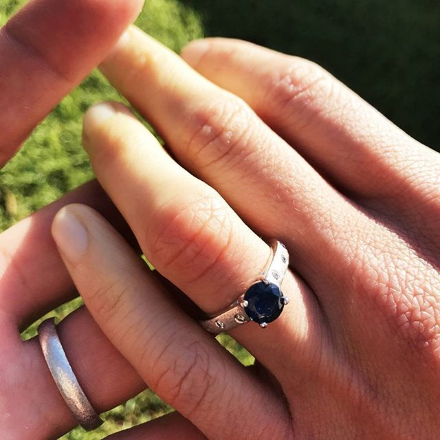 "Dominik and Annabelle's ""raw earth"" engagement ring set is complete : )"