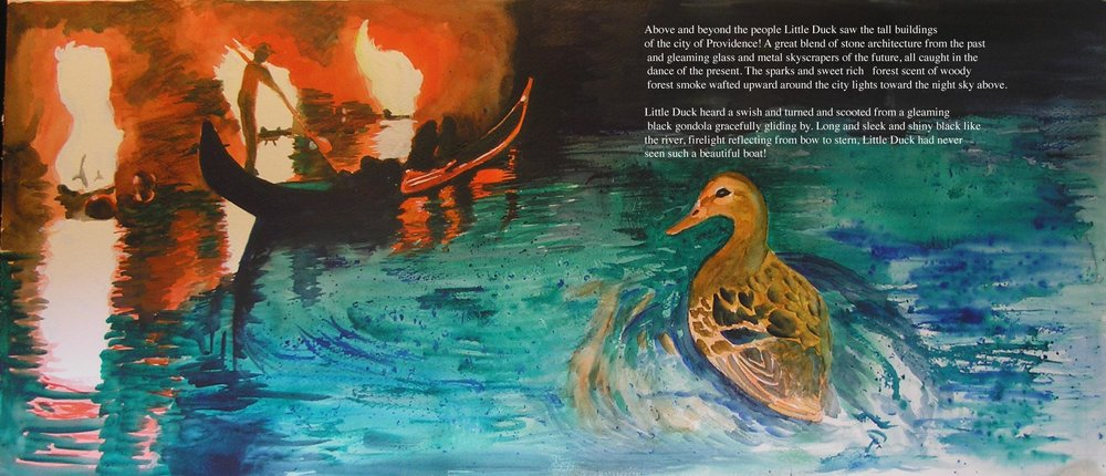 The WaterFire Duck  Illustration by Bunny Griffeth