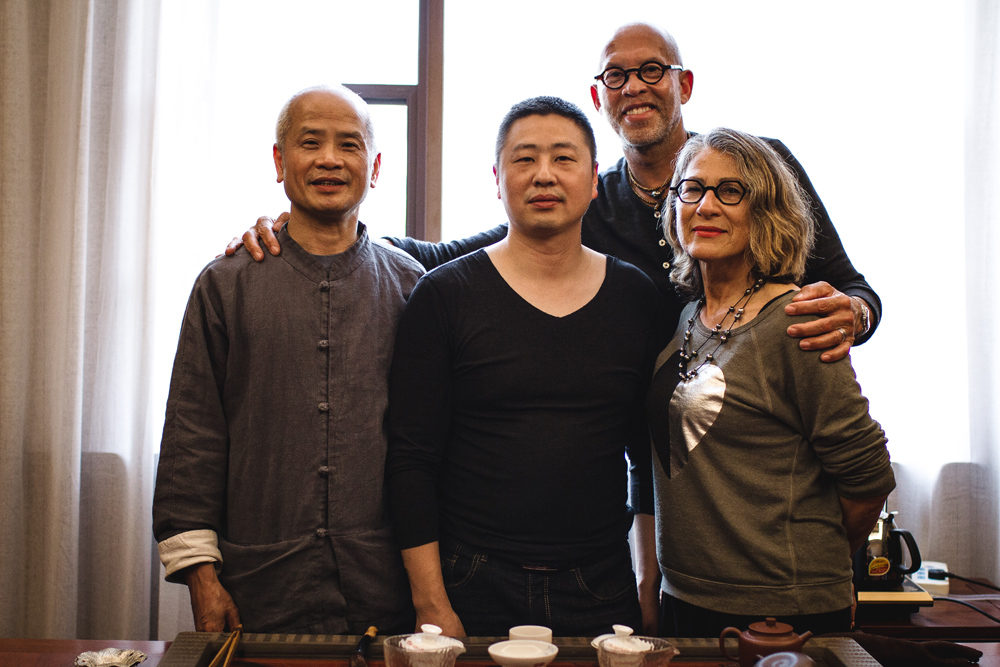 From Left:  Dr. Ming Wu, Tea Master Zhou, Nathaniel Vinson, Michele Vinson at Tea Master Zhou's Tea House in Wuyi Mountain.