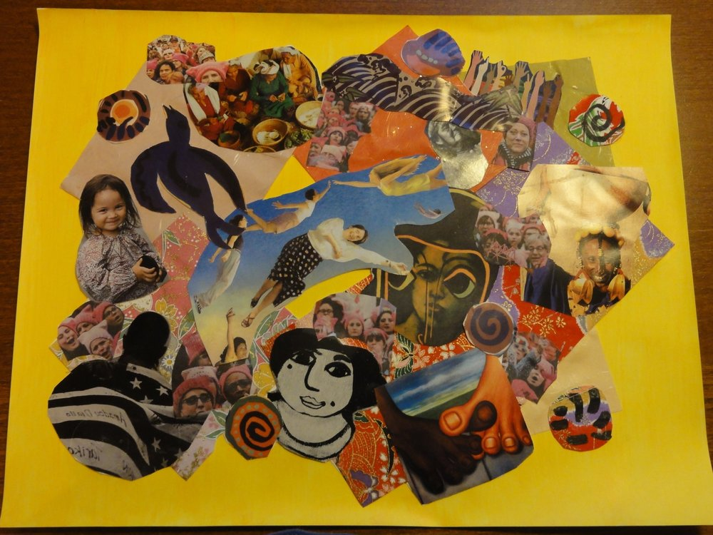 "Mariko is a Japanese  poetry translator , Fordham University Japanese language instructor and once made her living as a jazz pianist. This is her first work of collage, titled ""Women's March,"" inspired by her experience marching in New York City on January 21st."