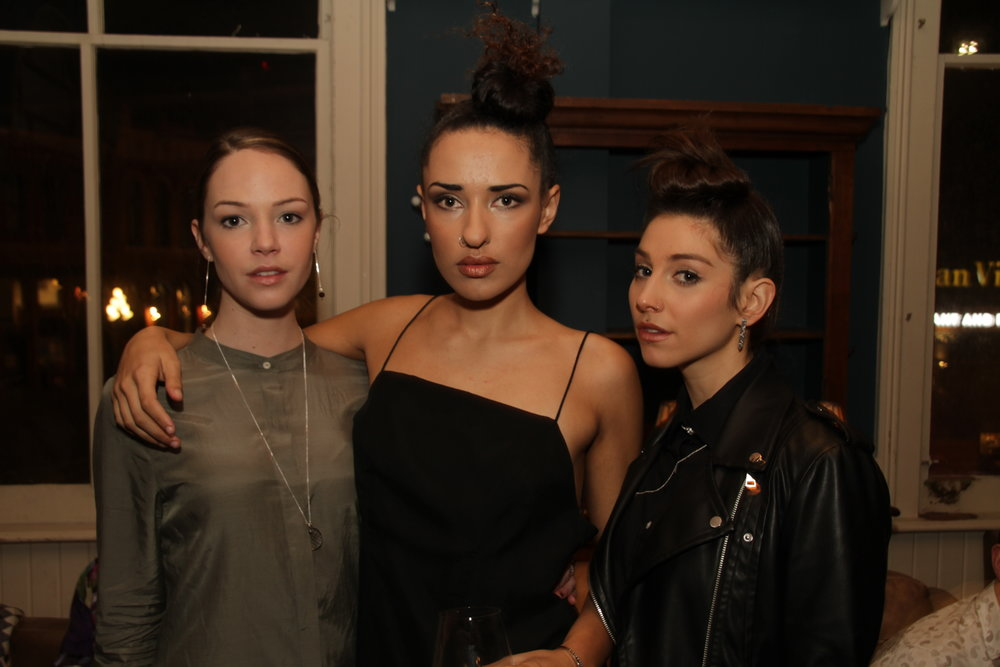 Models Sophia Dishaw, Hannah Morrison and Vanessa Prescott at the Victoria Fashion Week VIP Launch Party. Photo by Gregory Forsberg.
