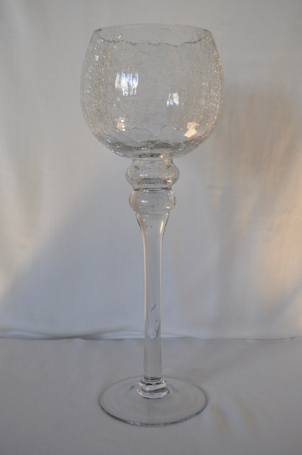 Tall Crackle Glass Candle Holder - Qty: 3