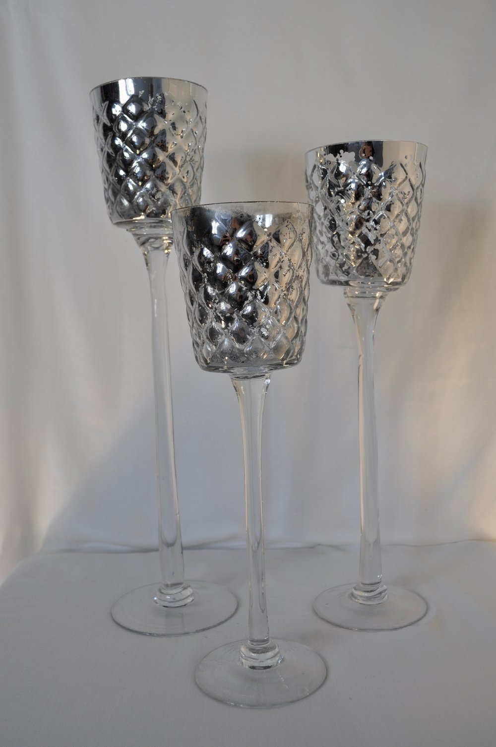 Tall Mercury Silver Candle Holders - Set of 3