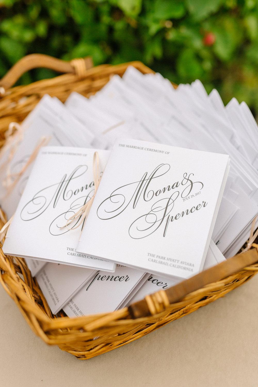 Wedding Programs Park Hyatt Aviara