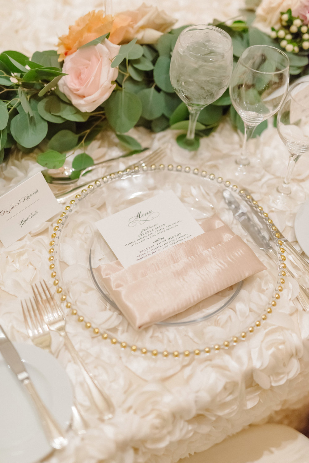 Beaded gold charger plates