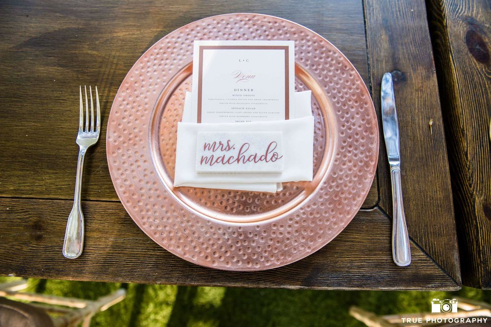 marble place card rose gold