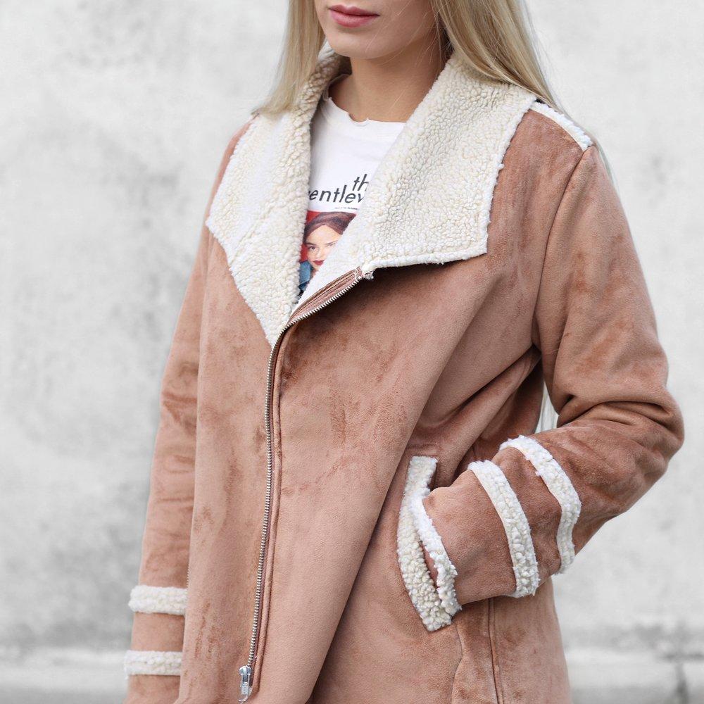 Brown Shearling Coat in Winter | Izzy Wears Blog