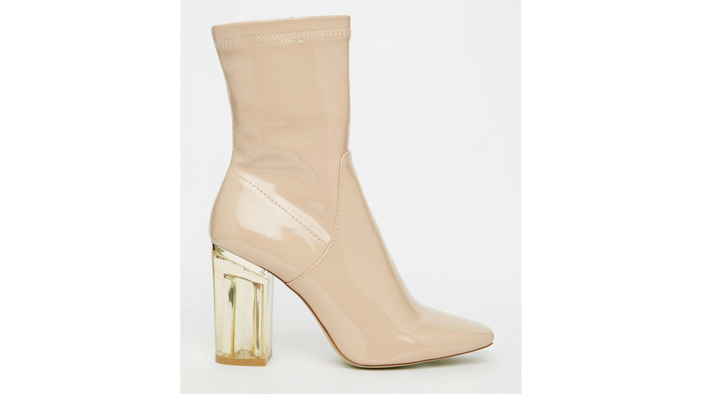PUBLIC DESIRE, CHLOE BEIGE CLEAR HEEL Sock Boot | Izzy Wears Blog