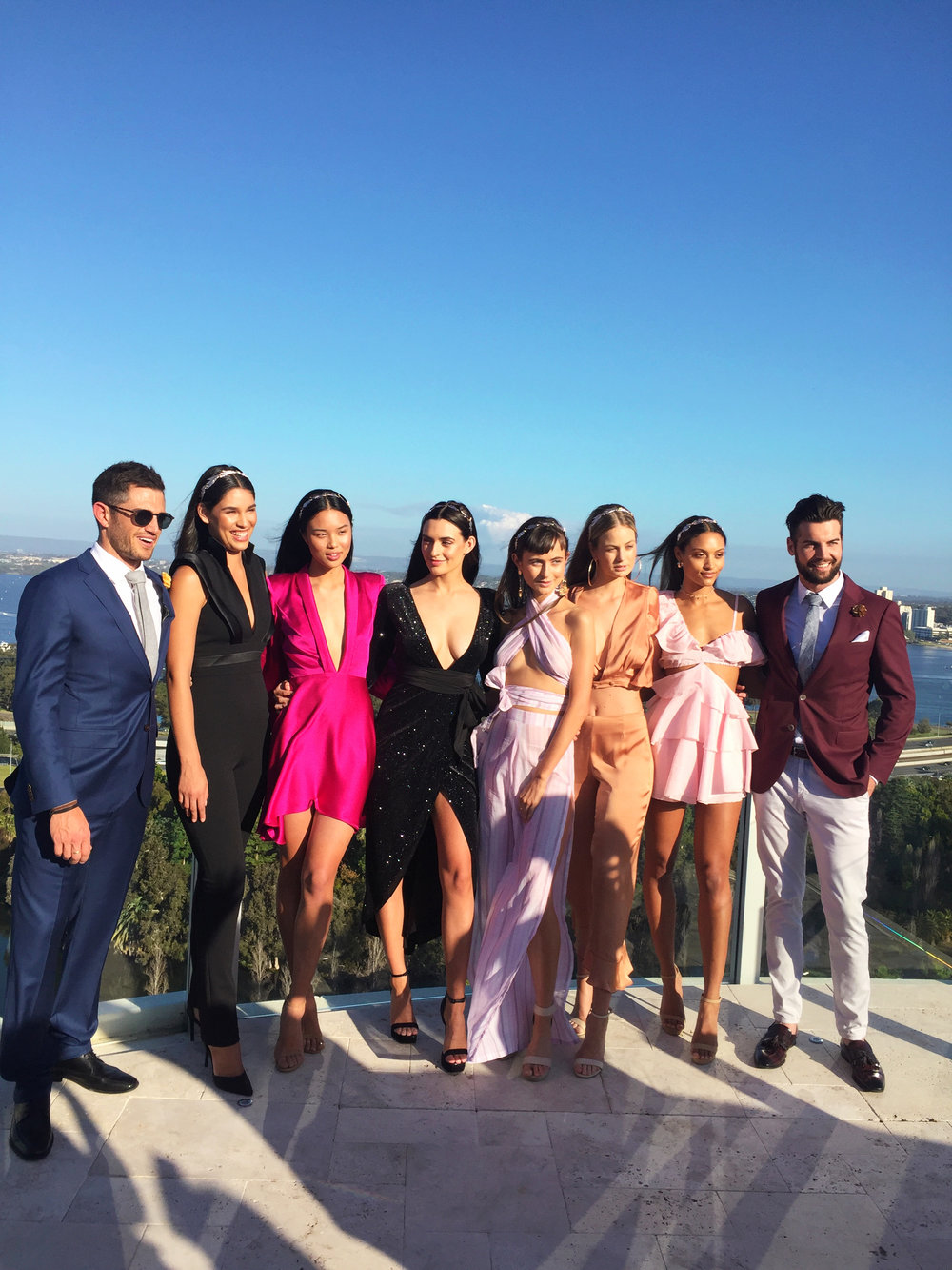 Models wearing Aelkemi and Sofia with two Bachelorette contestants.