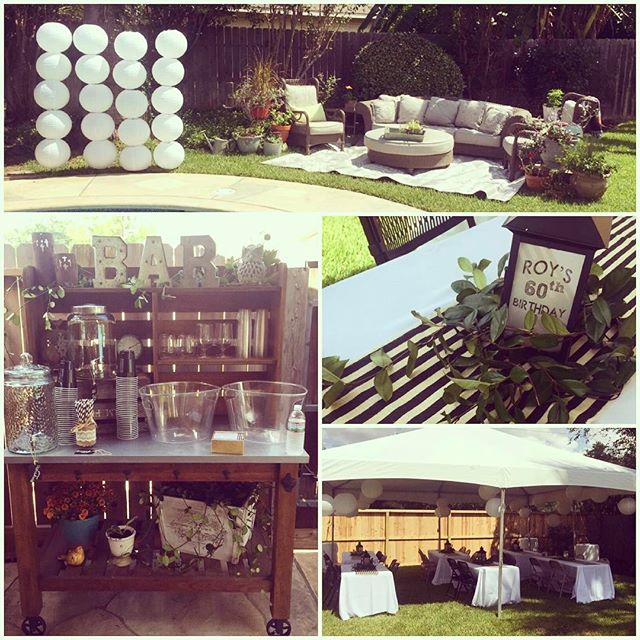 Enjoyed planning and decorating for this backyard birthday bash. The theme was vintage aged to perfection-- it had a modern twist with black and white and a lot of greenery. Very classy!! Not pictured was the awesome live band that rocked it all night until the cops came because of a noise complaint! Who would have thought a 60th birthday party could get so rowdy! 😜