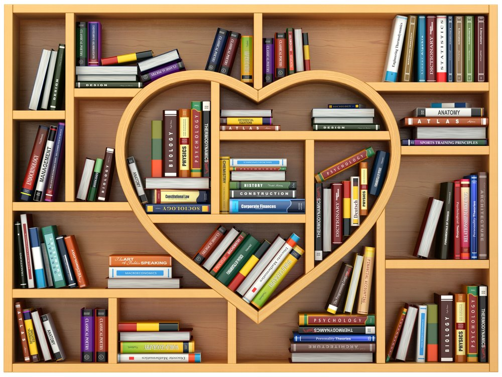 52181007 - education concept. bookshelf with books and textbooks in form of heart. i love reading. 3d